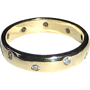 14k Yellow Gold Band Ring 10 Inset Diamonds