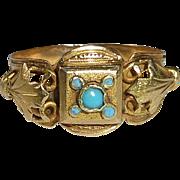 Late Georgian 18k Ring Turquoise and Enamel