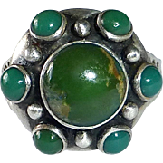 Native American Pawn Sterling & Green Turquoise RIng