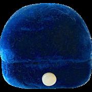 SALE PENDING Antique Dark Teal Blue Velvet Edwardian Ring Box Mother of Pearl Push Button.