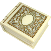 """SOLD Art Deco Celluloid """"Book"""" Presentation Ring Box Castelberg's Jewelry Co"""