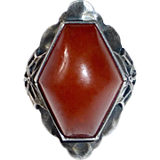 Sterling Arts & Crafts Ring Genuine Amber Cabochon