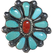 Native American Zuni Pawn Sterling Turquoise Coral Rosette Ring