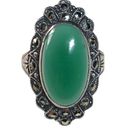 Uncas Sterling Art Deco Chrysoprase & Marcasite Ring