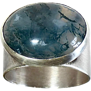 Sterling Silver Wide Band Ring w Large Moss Agate Cabochon