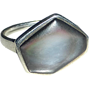 Sterling Ring Asymmetrical Gray Mother of Pearl Cab
