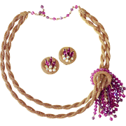 Hobe Necklace & Earrings Gold Tone Mesh & Fuchsia Crystals Set