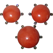 18k Coral Earrings & Pin Set Rose Cut Diamonds