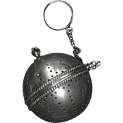 SOLD Antique English Sterling Silver Beaded Edge Tea Ball