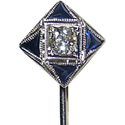 Art Deco 10k White Gold Diamond Sapphire Stickpin