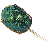 Egyptian Revival 10k Genuine Iridescent Hard Shell Beetle Victorian Stickpin