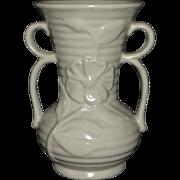 Shawnee Creamy White Double Handle Ribbed Flower Vase