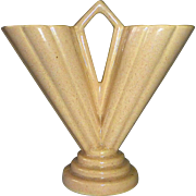 Art Deco Double Flower V Form Peach Glaze Vase