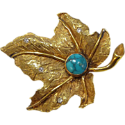 Quality Vintage 18k Yellow Gold Leaf Pin Turquoise & Diamonds