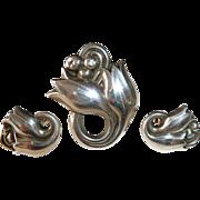 Georg Jensen Graceful Tulip Flower Pin & Earrings Set