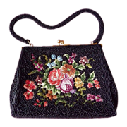 SOLD 1950s Vintage Black Beaded Purse with Floral Needlepoint Center