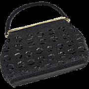 SOLD Elegant Vintage Black on Black Beaded Evening Purse