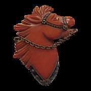 Bakelite Horse Pin Fine Carved Detail w Embellishments