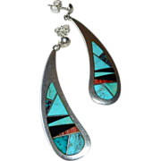 Native American Long Drop Earrings Turquoise Coral Onyx Inlay