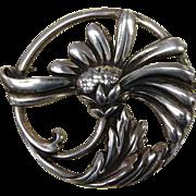 Viking Craft Art Deco Sterling Daisy Pin
