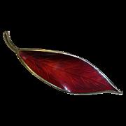 David Andersen Norway Sterling Enamel Leaf Pin