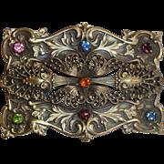 Antique Victorian Brass Filigree & Embossed Sash Ornament