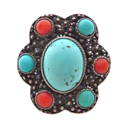 Old Chinese Turquoise & Coral 800 Silver Cannetille Filigree Ring