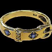 Sapphires & Diamonds 9k YG Belt Buckle Ring