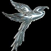Fabulous Danecraft Large Sterling Silver Heron Pin