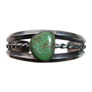 Native American Pawn Sterling & Turquoise Cuff Bracelet