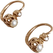 SOLD (ANTIQUE) Rare French Victorian 18K 18CT Solid Yellow Gold White Pearl Rose Cut Paste Ear