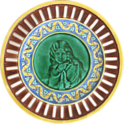 Wedgwood Majolica Reticulated Portrait Plate with Periwinkle Blue Border
