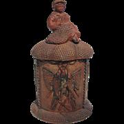 Figural Tobacco Jar Humidor - Fisher Boy Mending Nets - Terra Cotta by Wilhelm Schiller &
