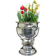 Large Figural Sports Trophy Dated 1923 - Lawn Bowling - Silver Plated