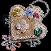 Native American Iroquois Beaded Heart Pin Cushion