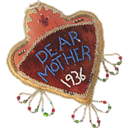 SALE PENDING Iroquois Beaded Pin Cushion DEAR MOTHER dated 1936