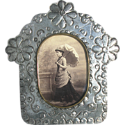 Vintage Tin Folk Art Picture Frame - Easel Frame for Cabinet Cards