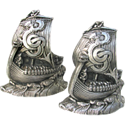 SOLD Vintage Viking Ship Bookends Figural Metal c1925