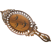 Antique Sorrento Ware Hand Mirror Italian Carved Olive Wood