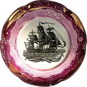 """""""USS Constitution"""" Plate c1930 Purple Splatter Luster Plate Showing the Tall Ship"""