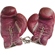Vintage REACH Boxing Gloves Maroon Kid Leather