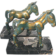Bronze Horse Bookends on Marble c1930 - Filly,  Colt,  Foal or Pony Art Deco Bookends