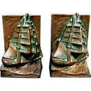 Nautical Ship Bookends c1925 Arts & Crafts Style - Bronze Patinated