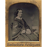 Ambrotype British Lady Well Dressed Wearing Mourning Jewelry - 6th Plate