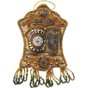 Antique Iroquois Beaded Match Holder c1900-1910 in PRISTINE Condition !
