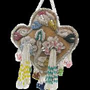 Antique Iroquois Beaded BIG HEART Pin Cushion c1900 - Masses of Beads