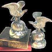SOLD Screaming Eagles Figural Bookends - Eagles on Globe Vintage Figural Bookends