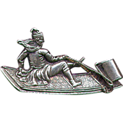 Antique Sterling Sporting Pin - PUNCH but no Judy on a Toboggan Dated 1885