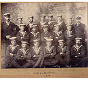 Antique Sailors Photo  - 1898 Crew of the H.M.S. Crescent - Canadian Battleship / Royal Navy