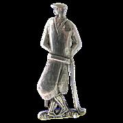 Sterling Golf Pin - Art Deco Golf Brooch - Stylish Figural